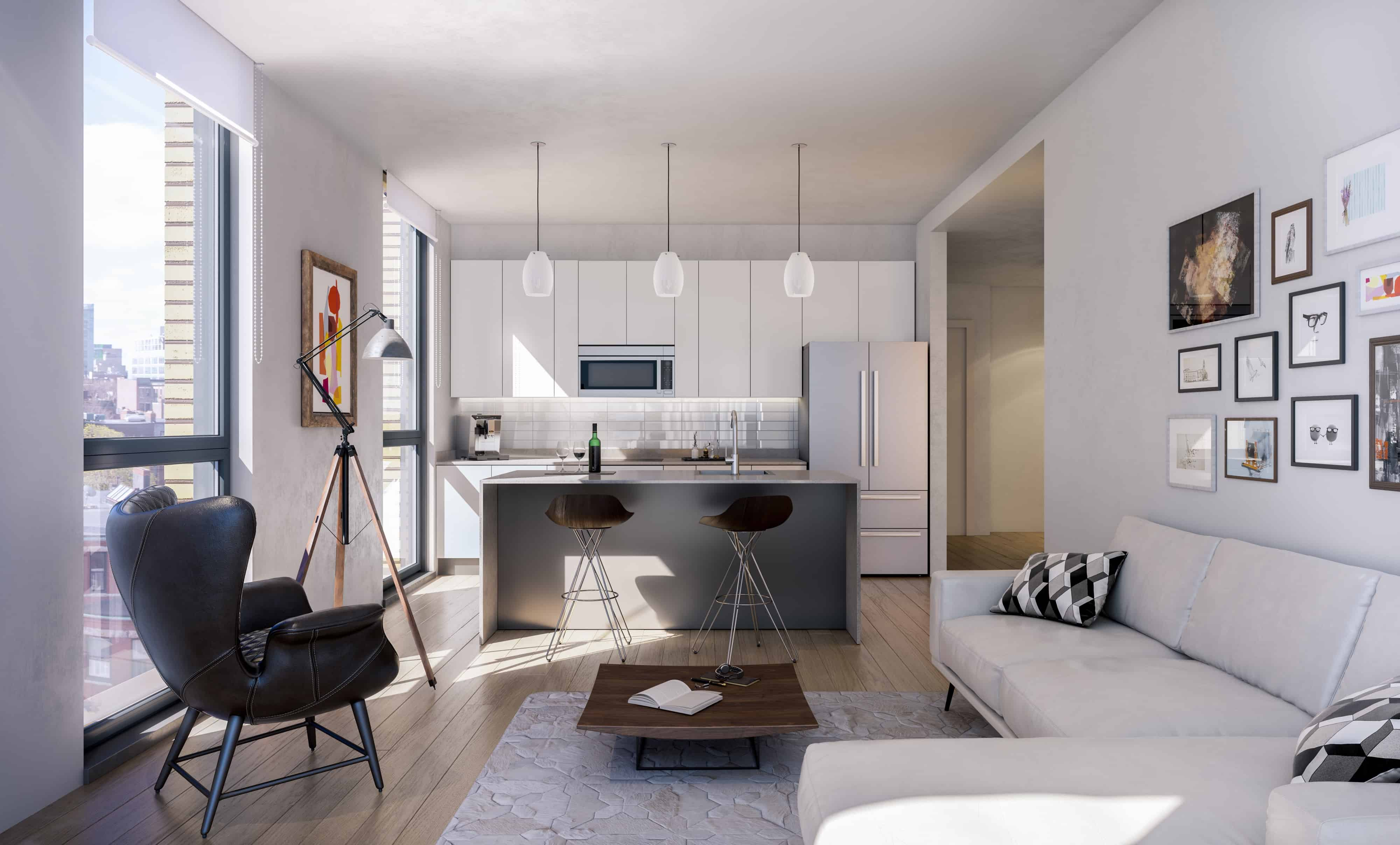 interior living and kitchen space